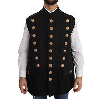 Dolce & Gabbana Coat Gray Black Wool Royal Crown Jacket JKT1175-1