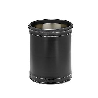 Stitched Black 10.75 Inches Rd. Waste Basket