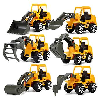 6 Styles Mini Diecast Plastic Construction Vehicle Engineering Cars Excavator