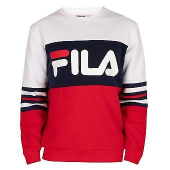 Fila Vintage Freddo Lm037512 Color Block Stripe Crew Sweat Top - Blanc/marine/rouge