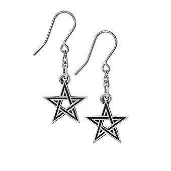 Alchemy Black Star Pewter Dropper Earrings