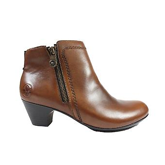 Rieker 70551-24 Brown Leather Womens Heeled Ankle Boots