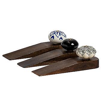 Arrêt traditionnel de coin de porte en bois vintage. Ensemble de 3 conceptions différentes