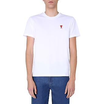 Ami H20hj108723100 Men's White Cotton T-shirt