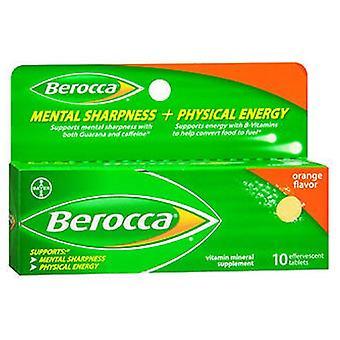 Berocca Mental Sharpness + Physical Energy Vitamin Mineral Supplement, Orange Flavor 10 Tabs