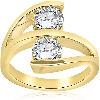 2 ct Diamond Enhanced Two Stone Forever Us Engagement Ring 14k Yellow Gold
