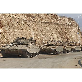 Israelske forsvar kraft Merkava Mark III-D kamp tanke på vej til Libanon plakat Print