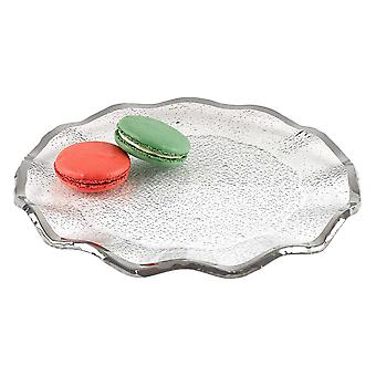 """13"""" Mouth Blown Wavy Edge Silver Platter or Charger"""