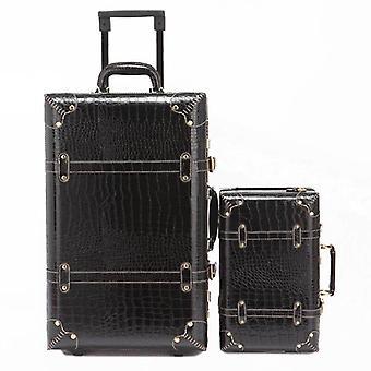 Firstmeet Retro Trolley matkalaukku käsilaukku, matka matkatavaroiden spinner myötäjäiset Pu