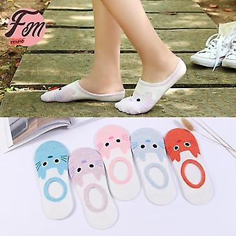 New Arrival Cotton Short Women Socks Cute Lovely Cartoon Slippers Invisible
