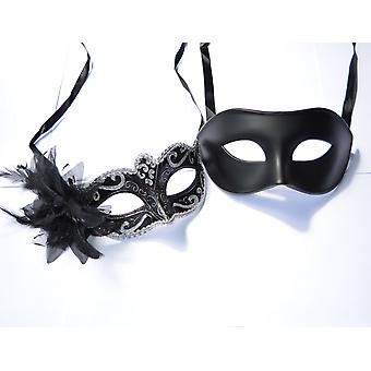 Fhs silver & men black - his & hers venetian masquerade masks for couples
