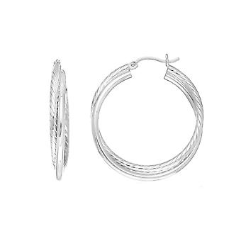 Sterling zilveren Rhodium Plated gedraaide buis ronde Hoop Earrings, Diameter 30mm