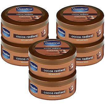 6x of 200ml Vaseline Cocoa Radiant Moisture Rich Body Butter For Glowing Skin