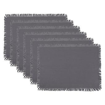 Dii Solid Gray Heavyweight Fringed Placemat (Conjunto de 6)