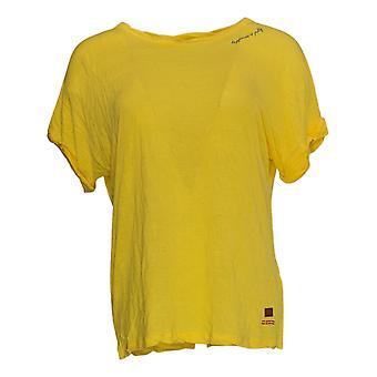 Peace Love World Women's Top (XXS) Linen Blend Twist Slv Yellow A379899