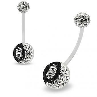 Multi Crystals مرصعة بالجواهر عدد 8 BioFlex شفافة مع كريستال Ferido الكرة أعلى الحمل حلقة البطن