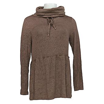 Anybody Women's Top Brushed Hacci Peplum Raw Edge Cowl Neck Brown A372137