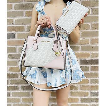 Michael kors hope medium messenger vanilla pink powder blush + double zip wallet