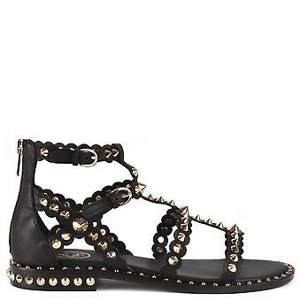 Ash Footwear Pixel Studded Leather Sandals Black