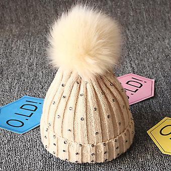 Girls Lovely Kintted Pompon Beanies Winter Caps, Newborn Hat