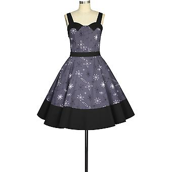 Chique star strap retro jurk in paars / print