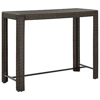 Garden Bar Table Brown 140.5x60.5x110.5 Cm Poly Rattan
