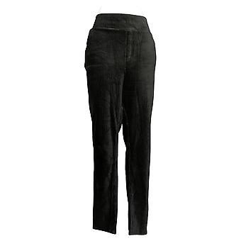 Denim & Co. Leggings Tall Smooth Waist Knit Cord Pockets Black A388787
