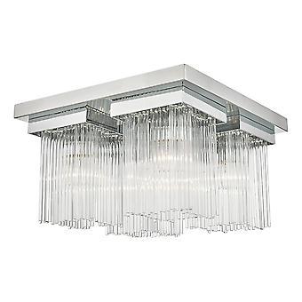 Glasskylloft Let poleret krom og glasstænger, 4x E14