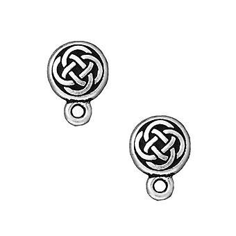 Earring Posts, Stud Celtic Circle 11mm, 1 Paar, Verzilverde Tin, door TierraCast