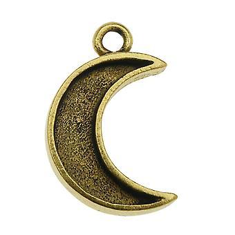 Nunn Design Mini Bezel Pendentif, Croissant de Lune 11.5x18.5mm, 1 Pièce, Or Antiqued