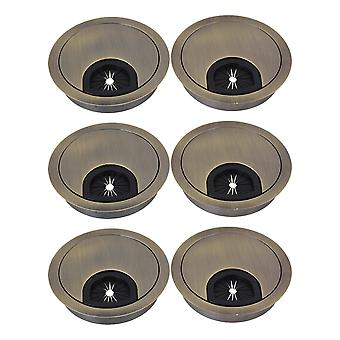 6 x Metal Green Bronze Wire Hole Cover Parts for Desk Cable 60mm Dia