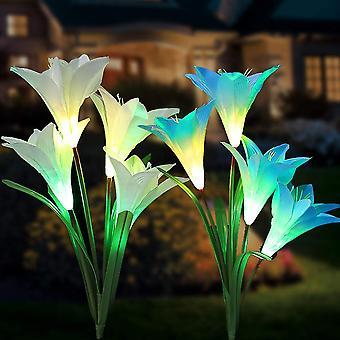 Outdoor zonne-tuin lampen 8 lelie bloem multicolor verandering led zonnelampen in piquet tuin, terras, (blauw en violet)