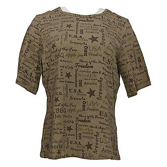 Denim &co. kvinners topp ord print jersey albue-ermet beige a354041