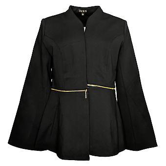 IMAN Global Chic Women's Blazer Reg Convertible Bell-Sleeve Black 711210