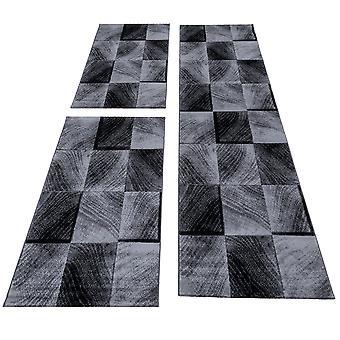 Seng kant runner tæppe kort bunke ternet mønster runner sæt 3 dele soveværelse gangen Broget sort grå