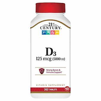 القرن الحادي والعشرين فيتامين D3، 125mcg، 5000IU 360 علامات التبويب