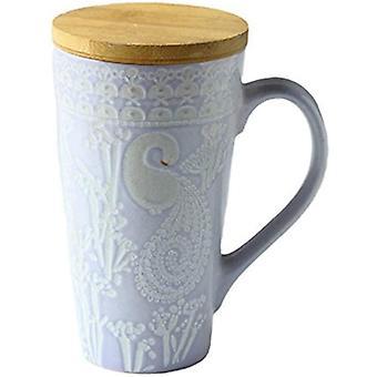 FengChun ufengkeLändlich Handmalerei Erleichterung Keramik Becher Milchschale Tee Tasse Mit Deckel