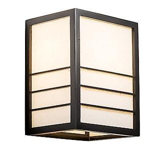 Grzywny Asianliving Japoński Lampa ścienna Shoji Rice Paper Wood Nikko Czarny W20xD15xH25cm
