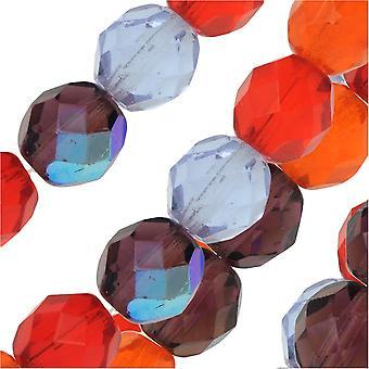 التشيكية النار مصقول الخرز الزجاج، جولة الأوجه 8mm، 19 قطعة، البطيخ بيري ميكس