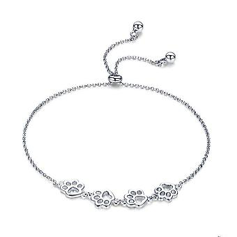 Silver plating Animal Footprints Chain Bracelets for Women Valentines Day Jewelry Gift