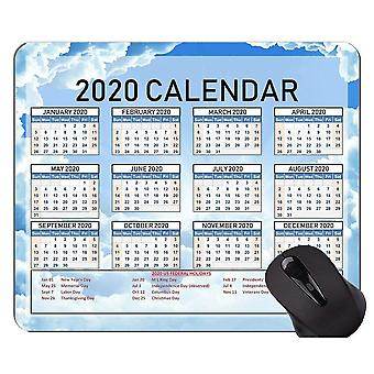 (6) Calendario 2020 con almohadilla de ratón original personalizada de vacaciones, almohadilla de ratón temática verde sólido con cosido