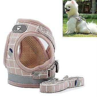 Reflective & Breathable Vest Traction Rope Pet Chest Leash, Size:S(Pink Grid)