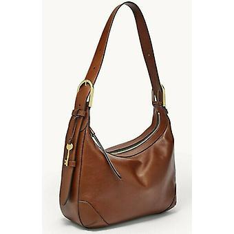 Fossil Hannah Hobo Shoulder Bag Brown Leather ZB7888200