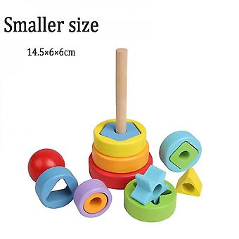Apilamiento de madera para niños Toy Rainbow Tower Educational Toy Color Pattern Recognition Geometry-small Code