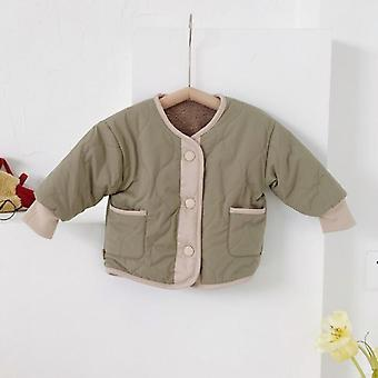 The New Children's Cotton Jacket Boy And Girl Baby Two-sided Wear Down Cotton Liner Plus Velvet Jacket