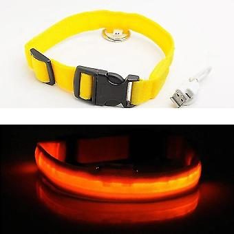 Pet collars harnesses water resistant usb rechargeable safety led pet collar m 40-48 cm yellow