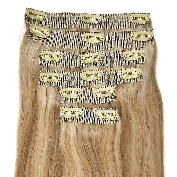 #18/22 blond doré avec blond clair met en évidence - Clip-in Hair Extensions - pleine tête - DELUXE