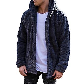 Men Teddy Bear Fluffy Hooded Coat Fleece Jacket Soft Winter Outerwear