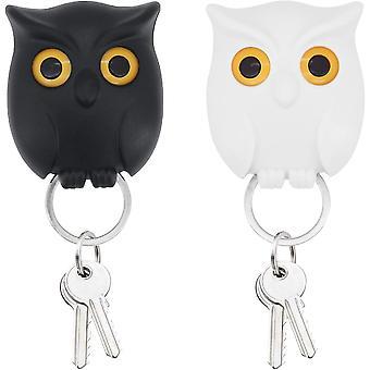 2 stycken Owl Magnet Nyckelhållare Magnetiska Nyckelringar Krokar