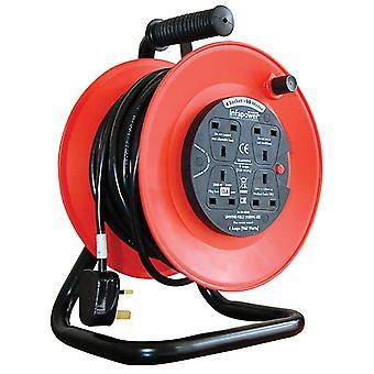 Infa Power 50m 13 A 4 Socket Reel - Black/Red (Model No. X815)
